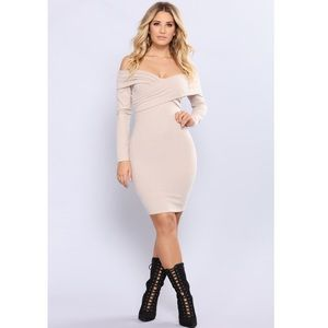 Off Shoulder Ribbed Midi Dress